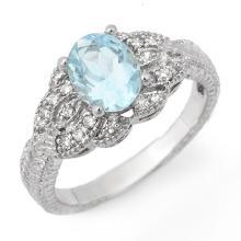 Genuine 1.55 ctw Aquamarine & Diamond Ring 14K White Gold - 11623-#44T2Z