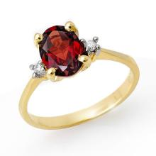 Genuine 1.54 ctw Garnet & Diamond Ring 10K Yellow Gold - 13221-#13A7N