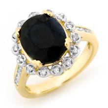 Genuine 5.33 ctw Blue Sapphire & Diamond Ring 10K Yellow Gold - 13441-#49K5T