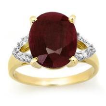 Natural 6.50 ctw Ruby & Diamond Ring 10K Yellow Gold - 12694-#39K2T