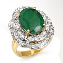 Genuine 7.04 ctw Emerald & Diamond Ring 14K Yellow Gold - 13099-#146G2R