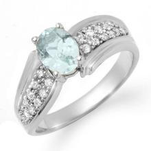 Genuine 1.20 ctw Aquamarine & Diamond Ring 18K White Gold - 14523-#55G2R