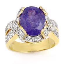 Natural 6.0 ctw Tanzanite & Diamond Ring 14K Yellow Gold - 14304-#214W2K