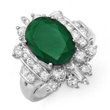 Natural 4.0 ctw Emerald & Diamond Ring 18K White Gold - 12956-#103T3Z