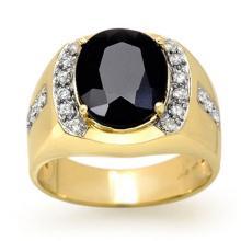 Natural 6.58 ctw Blue Sapphire & Diamond Men's Ring 10K Yellow Gold - 13470-#67K3T