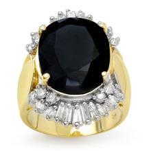 Genuine 16.85 ctw Blue Sapphire & Diamond Ring 14K Yellow Gold - 13309-#177H2W