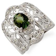 Natural 2.15 ctw Green Tourmaline & Diamond Ring 10K White Gold - 11164-#65P2X