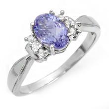 Natural 1.06 ctw Tanzanite & Diamond Ring 10K White Gold - 14404-#18K3T