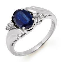 Genuine 1.67 ctw Blue Sapphire & Diamond Ring 18K White Gold - 12821-#29X2Y