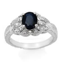 Genuine 1.95 ctw Blue Sapphire & Diamond Ring 14K White Gold - 13719-#42Z5P