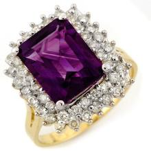 Genuine 4.75 ctw Amethyst & Diamond Ring 14K Yellow Gold - 11109-#65G5R