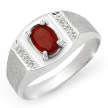 Genuine 2.0 ctw Garnet Men's Ring 10K White Gold - 12413-#18N2F
