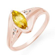 Genuine 0.36 ctw Citrine & Diamond Ring 10K Rose Gold - 12289-#12M5G