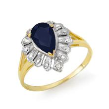Genuine 1.12 ctw Blue Sapphire & Diamond Ring 10K Yellow Gold - 13551-#11A5N