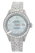 Rolex Men's Stainless Steel, QuickSet, Diamond Dial & Diamond Bezel - REF#469F3W