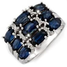 Genuine 3.15 ctw Blue Sapphire & Diamond Ring 18K White Gold - 11585-#53F5M