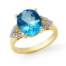 Genuine 5.30 ctw Blue Topaz & Diamond Ring 10K Yellow Gold - 13279-#30X8Y