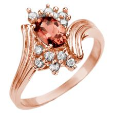Genuine 0.80 ctw Pink Tourmaline & Diamond Ring 14K Rose Gold - 10005-#25P3X