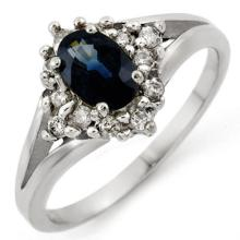 Genuine 1.05 ctw Blue Sapphire & Diamond Ring 10K White Gold - 10067-#29N7F