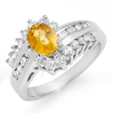 Genuine 1.77 ctw Yellow Sapphire & Diamond Ring 14K White Gold - 13371-#71H7W