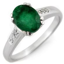Genuine 1.10 ctw Emerald & Diamond Ring 10K White Gold - 11545-#18A7N