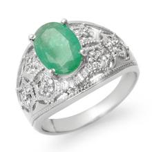 Genuine 2.87 ctw Emerald & Diamond Ring 14K White Gold - 13941-#64P7X