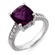 Genuine 3.75 ctw Amethyst & Diamond Ring 14K White Gold - 10603-#42W3K