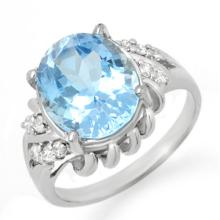 Natural 5.22 ctw Blue Topaz & Diamond Ring 10K White Gold - 12482-#26A7N