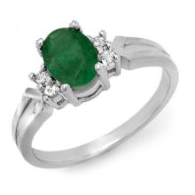Natural 0.87 ctw Emerald & Diamond Ring 18K White Gold - 12526-#30F2M