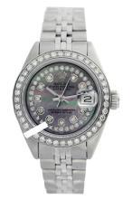 Rolex Men's Stainless Steel, QuickSet, Diam Dial & Diam/Sapphire Bezel - REF#469G3R