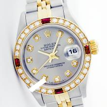 Rolex Ladies 2Tone 14K Gold/ Stainless Steel, Diam Dial & Diam/Ruby Bezel, Saph Crystal - REF#321G8R