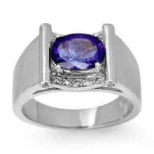 2.18 ctw Tanzanite & Diamond Men's Ring 10K White Gold - REF#-46X2T - 13490