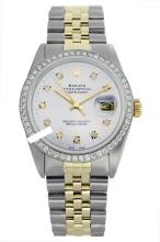 Rolex Men's 2Tone 14K Gold/ SS, QuickSet, Diamond Dial & Diamond Bezel - REF#458N2J