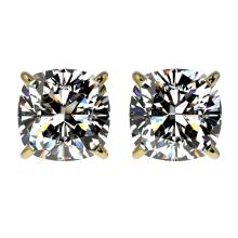 2 CTW Certified VS/SI Quality Cushion Cut Diamond Stud Earring Gold - REF#-525M8R - 33099