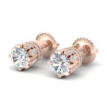 3 CTW VS/SI DIAMOND SOLITAIRE ART DECO STUD EARRING 18K ROSE Gold - REF#-619N7A - 36837