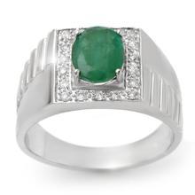 2.25 ctw Emerald & Diamond Men's Ring 10K White Gold - REF#-47H8M - 13419