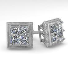 2 CTW VS/SI PRINCESS DIAMOND STUD EARRING 18K DECO Gold - REF#-581V2Y - 35985
