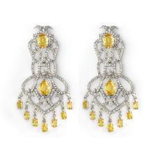 17.30 ctw Yellow Sapphire & Diamond Earrings 14K White Gold - REF#-488H7M - 11100