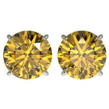 4 CTW Certified Intense Yellow SI Diamond Solitaire Stud Earring Gold - REF#-824N2A - 33139
