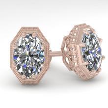 2 CTW VS/SI OVAL CUT DIAMOND STUD EARRING 18K DECO Gold - REF#-499A2X - 35981