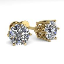 2.03 CTW VS/SI DIAMOND STUD SOLITAIRE EARRING 18K YELLOW Gold - REF#-497G2N - 35848
