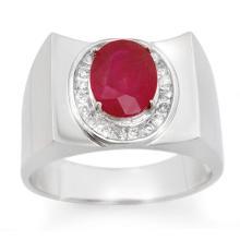3.33 ctw Ruby & Diamond Men's Ring 10K White Gold - REF#-58Y4M - 14477