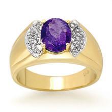 2.65 ctw Tanzanite & Diamond Men's Ring 10K Yellow Gold - REF#-70G4N - 13477