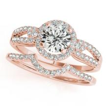 1.36 CTW Certified VS/SI Diamond 2pc Wedding Set Solitaire Halo 14K Gold - REF#-370M7R - 31182