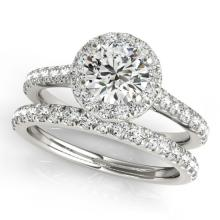1.42 CTW Certified VS/SI Diamond 2pc Wedding Set Solitaire Halo 14K Gold - REF#-212R4H - 30837