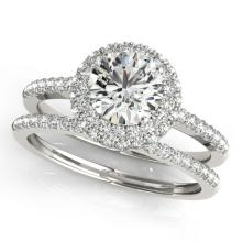 1.86 CTW Certified VS/SI Diamond 2pc Wedding Set Solitaire Halo 14K Gold - REF#-399A3X - 30927