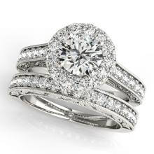 2.11 CTW Certified VS/SI Diamond 2pc Wedding Set Solitaire Halo 14K Gold - REF#-424H7M - 30951