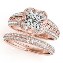 2.41 CTW Certified VS/SI Diamond 2pc Wedding Set Solitaire Halo 14K Gold - REF#-599A6X - 31242