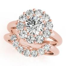 1.81 CTW Certified VS/SI Diamond 2pc Wedding Set Solitaire Halo 14K Gold - REF#-241R6H - 31272