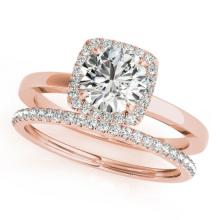 0.83 CTW Certified VS/SI Diamond 2pc Wedding Set Solitaire Halo 14K Gold - REF#-124R4H - 30730